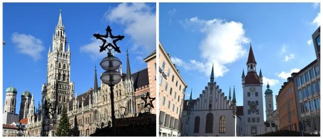A gauche la nouvelle mairie, à droite l'ancienne