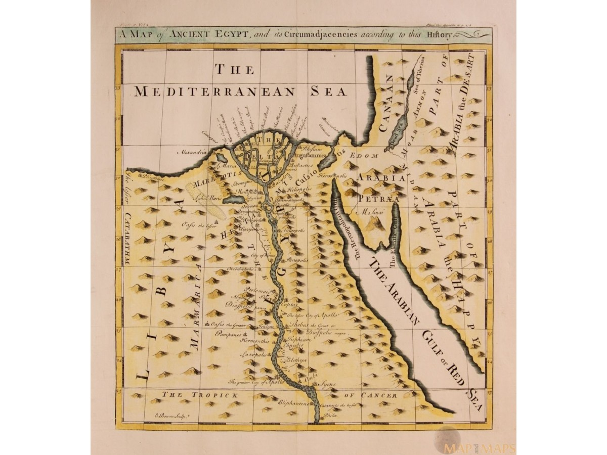 A Map Of Ancient Egypt And Its Cerium Old Map Bowen