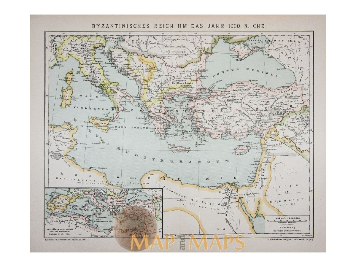 Antique Old Map Byzantine Empire Africa Europe
