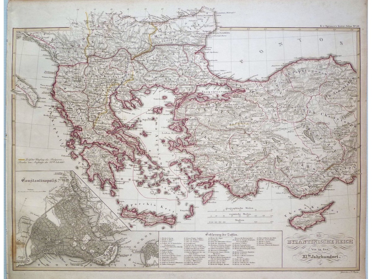 Byzantine Empire Balkans Antique Map Karl Spruner