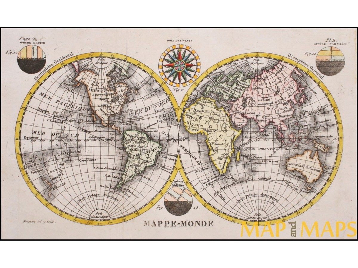 Mappemonde World Map Antique Map Two Hemispheres