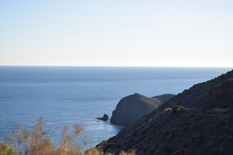 Travel photo of the calm Mediterranean coastline of Cabo de Gata Natural Park in Almeria Spain