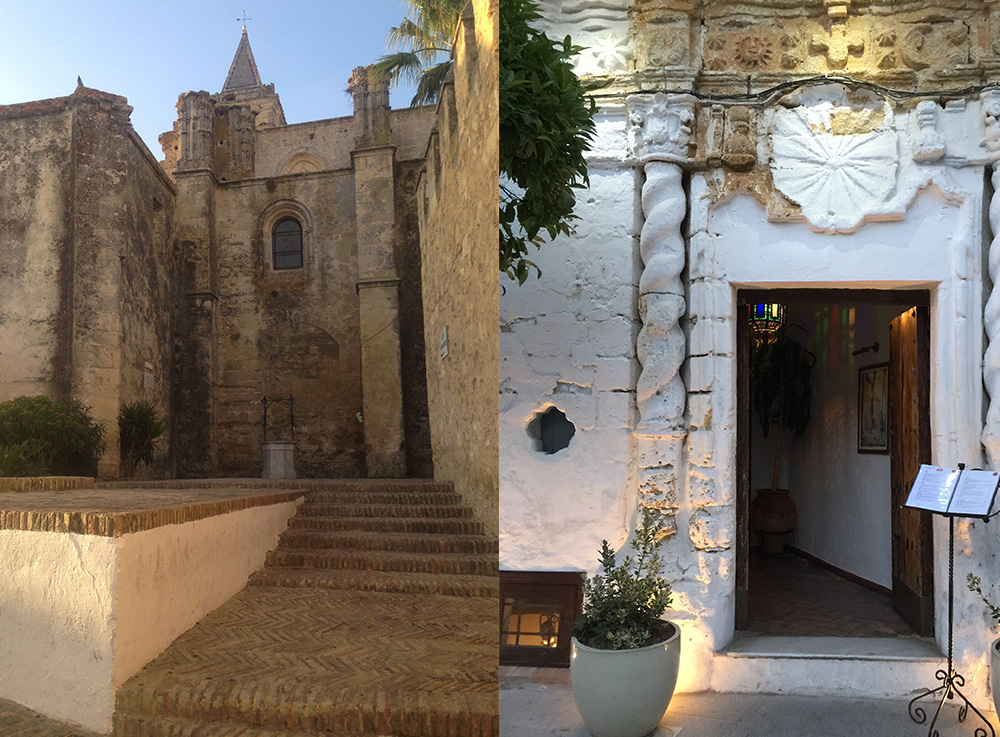Images of Vejer de la Frontera's old town including the medieval castle and entrance to El Jardin de la Califa restaurant.