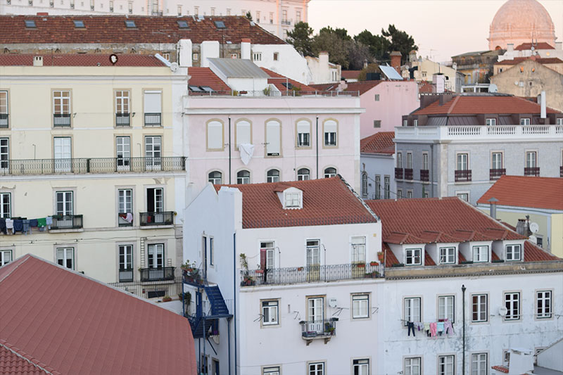 The rooftops of Lisbon Portugal Alfama neighborhood