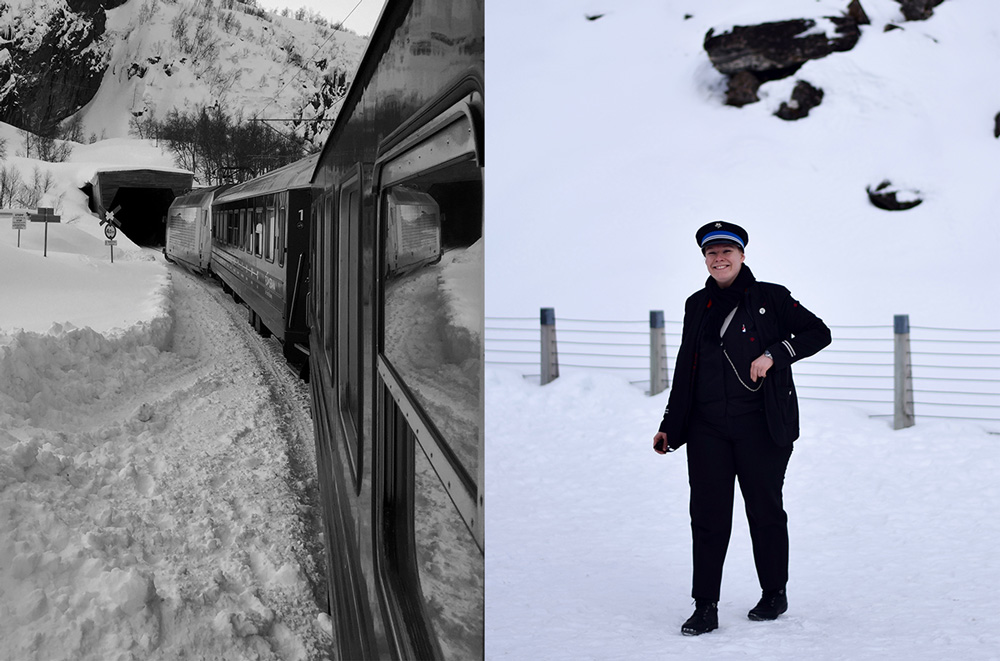 The Flam Railway going through deep snow and a smiling woman in uniform who works on the train.