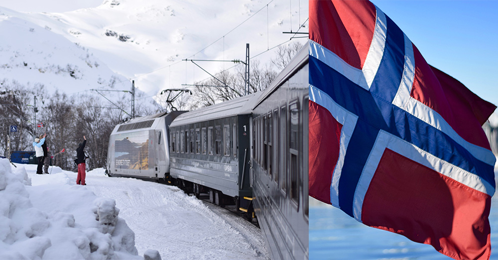 A photo of the Flam Railway traveling between Flam and Myrdal and a Norwegian flag.