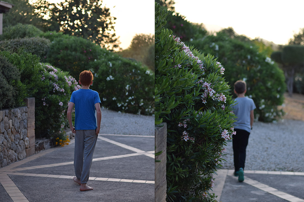 Photos of boys walking on a farm in Mallorca Spain