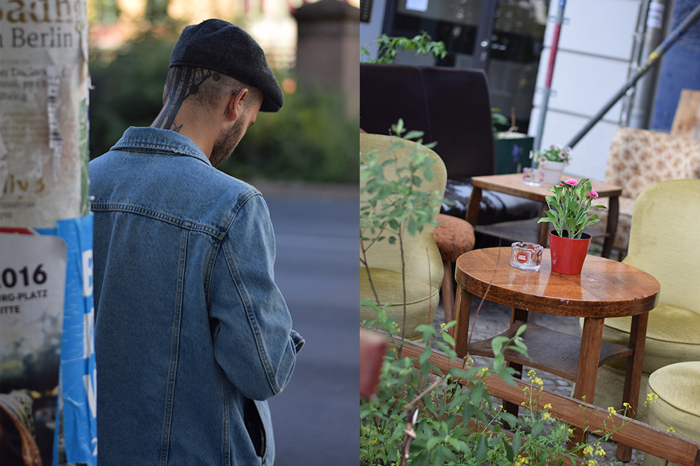 A photo of a tattooed man standing at a corner and a photo of a few vintage chairs gathered around a coffee table at a cafe in Penzlauer Berg, Berlin, Germany.