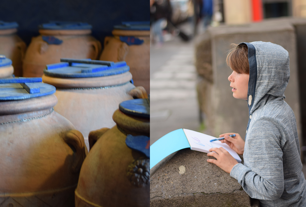 a photo of wine vats and a photo of a boy drawing with a sketchpad in Florence, Italy