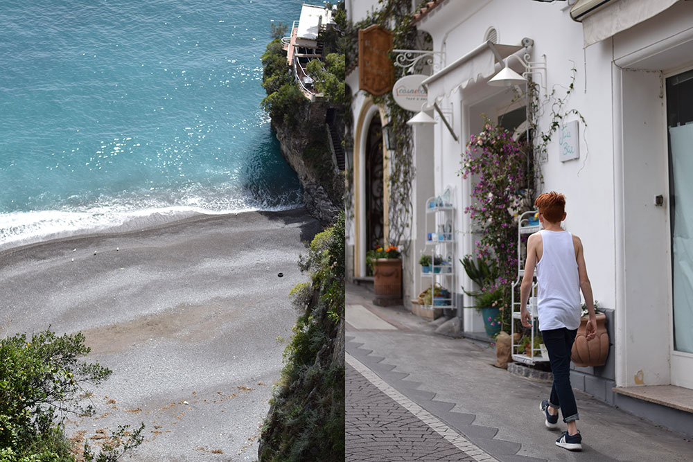 Photo of the beach and a boy walking in the town of Positano, Italy.