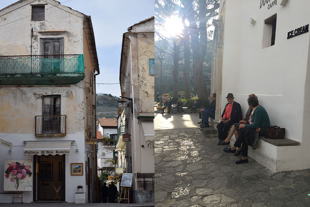 A photo of an art gallery in the town of Ravello and a few older folks sitting in the piazza.