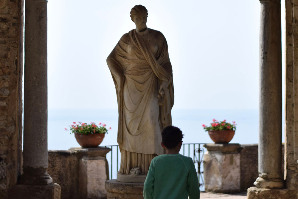 Photo of a boy in Villa Cimbrone in Ravello, Italy.