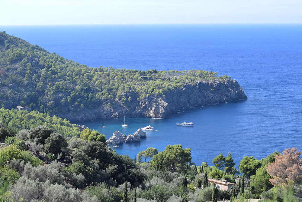 View of the Mediterranean from a hiking trail in the hills of Mallorca, Spain.