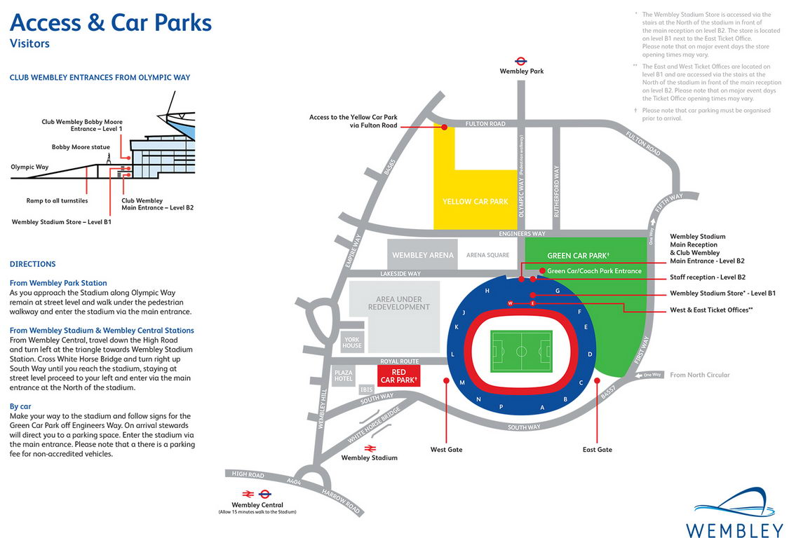 hight resolution of wembley stadium seating plan visitors access and car parks red green yellow