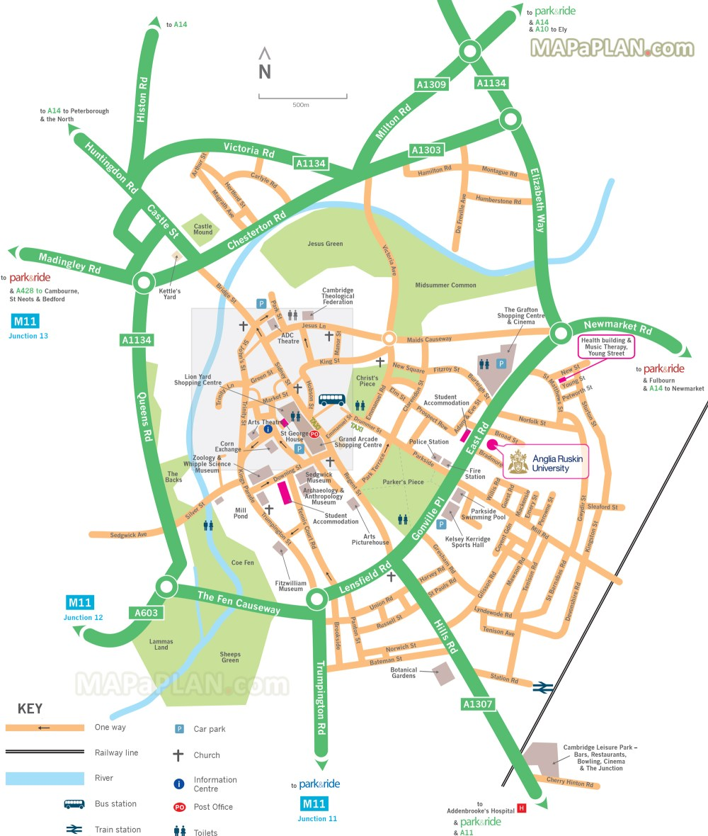 medium resolution of map showing directions to park and ride car park locations cambridge top tourist attractions map
