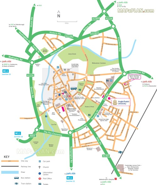 small resolution of map showing directions to park and ride car park locations cambridge top tourist attractions map