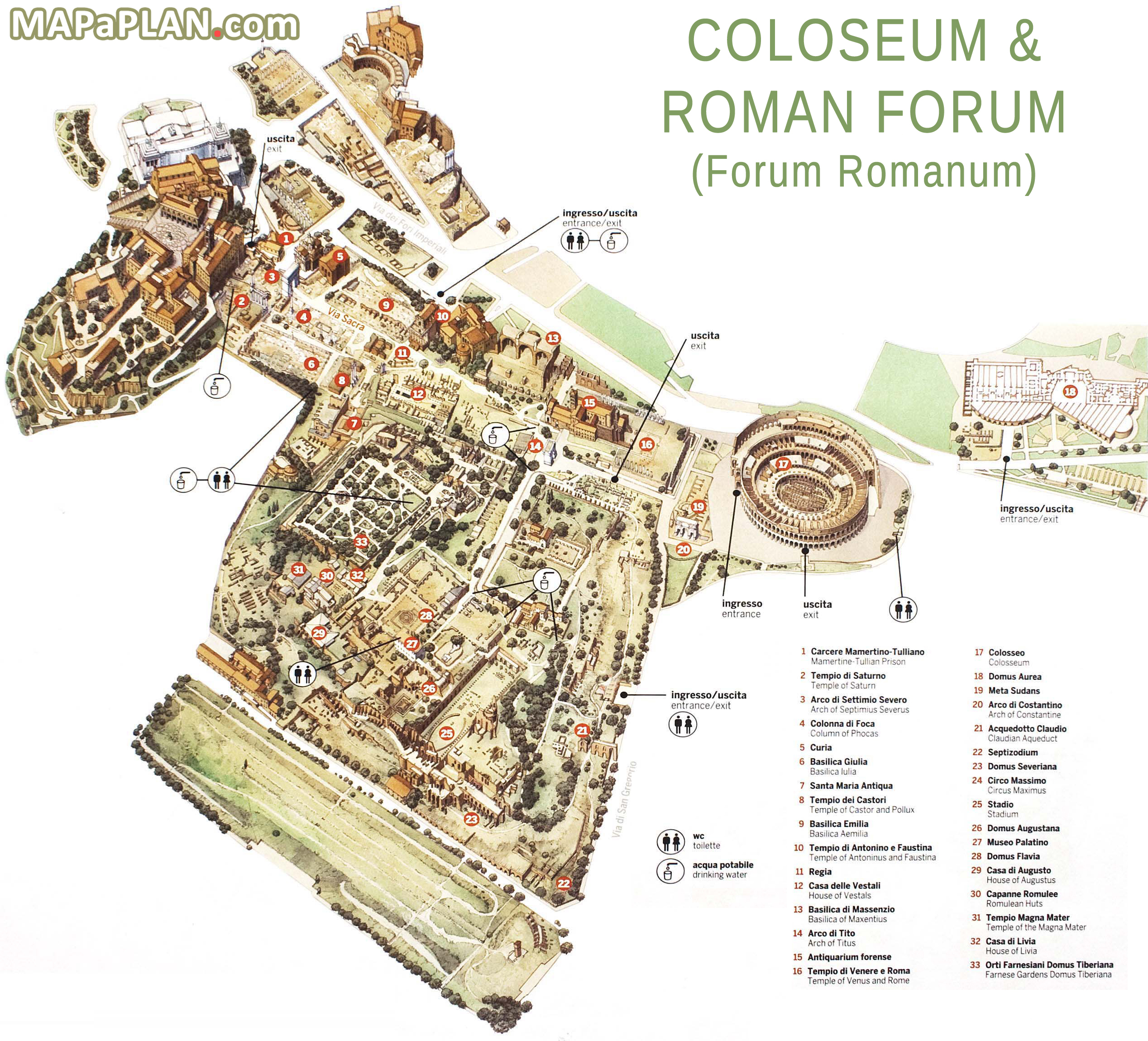 Map High Resolution Map Of The Roman Forum Archaeological