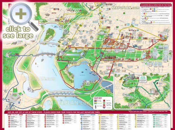 Washington DC maps Top tourist attractions Free