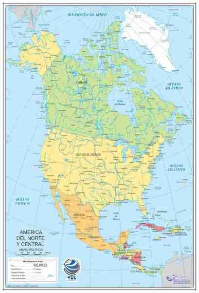 Mapa de América del Norte y Central Político