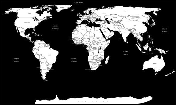 mapa mundi preto e branco - completo com nome dos países e capitais