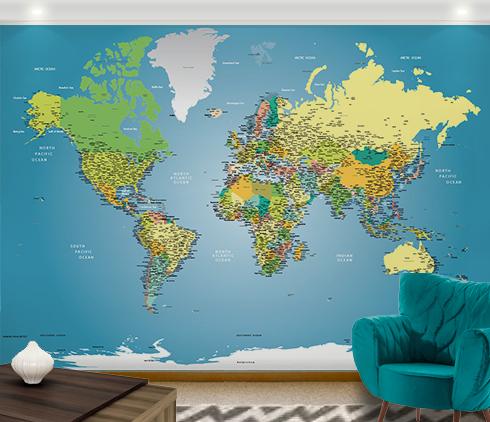 papel de parede mapa mundi decoração aplicada