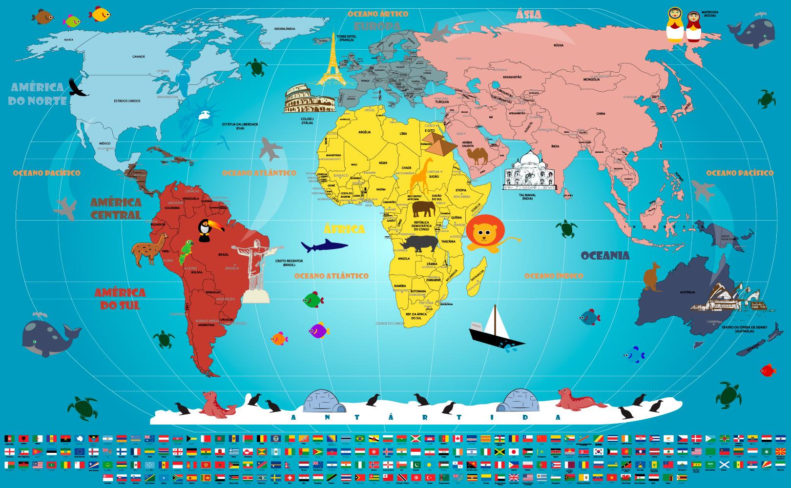 Mapa Mundi Infantil Adesivo Artisticamente Ilustrado