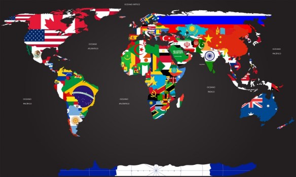 Mapa Mundi Bandeiras