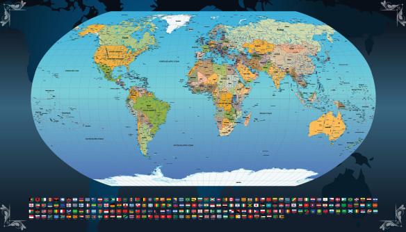 Papel de parede mapa mundi para escritório ou onde imaginar