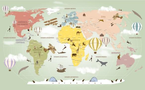 Papel de Parede Mapa Mundi Infantil Tons Pasteis