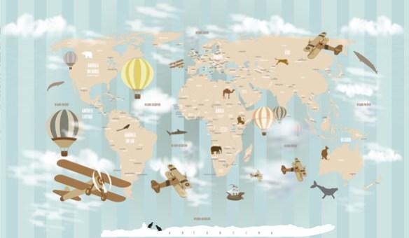 Papel de Parede Mapa Mundi Infantil 18-D1 Listrado