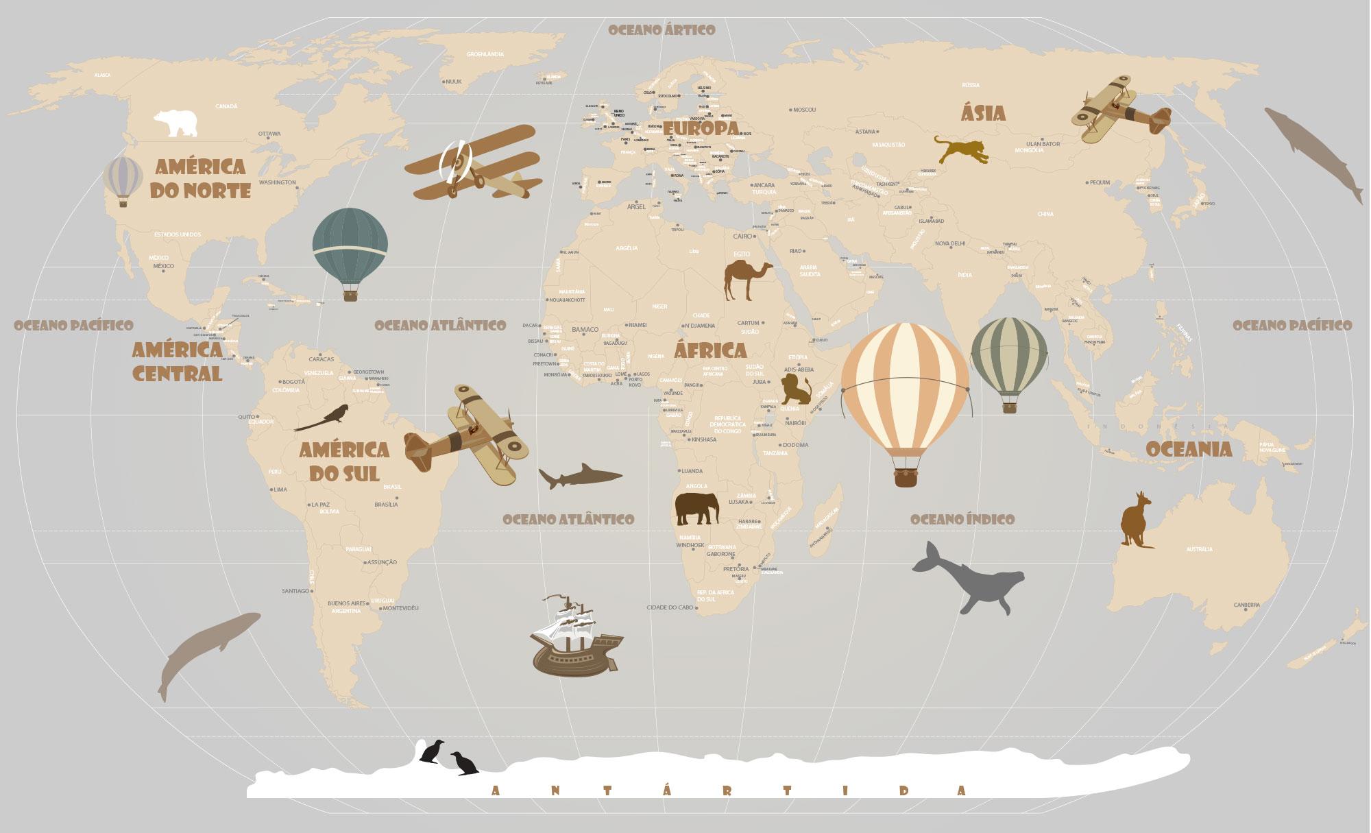 Papel de Parede Mapa Mundi Infantil, para crianças de todas as idades