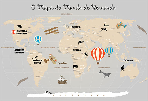Papel de Parede Mapa Mundi Infantil Personalizado