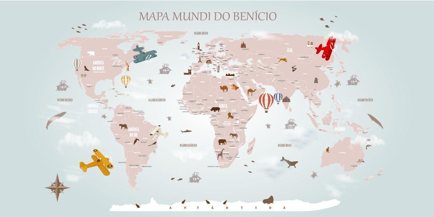 Papel De Parede Mapa Mundi Decorativo V Rios Modelos Para Decora O  ~ Papel De Parede Mapa Mundi Quarto
