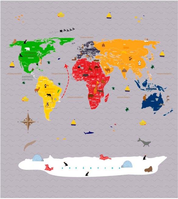 Papel de Parede Mapa Mundi para viagens - modelo 18-F