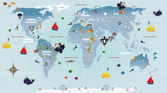 Papel de Parede Mapa Mundi Infantil modelo 18-G