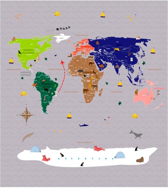 Papel de Parede Mapa Mundi para viagens - modelo 18-F2