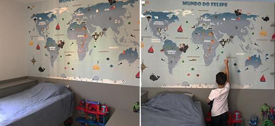 papel de parede mapa mundi decoração infantil