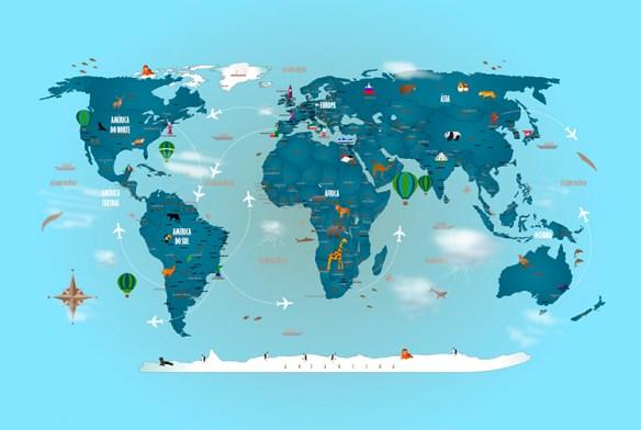Papel de Parede Mapa Mundi Completo Modelo 18-H1