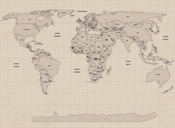 Papel de parede mapa mundi vintage modelo 27