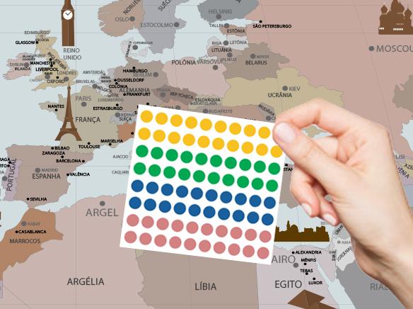 marcadores bolinhas mapa mundi