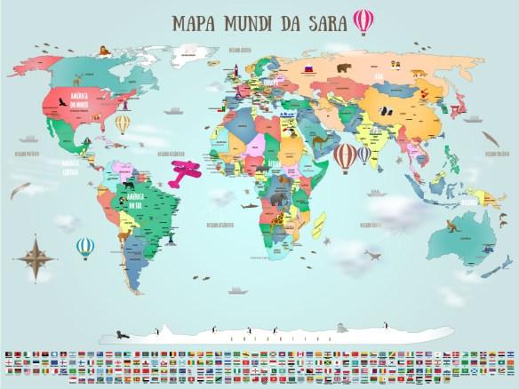 papel de parede mapa mundi infantil modelo 18-H4