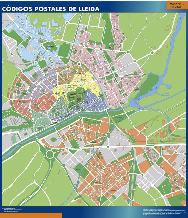 Mapa Lleida Cdigos Postales para nuestra empresa oficina o casa  Mapas Posters Mundo y Espaa