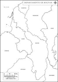 Mapas del departamento de Bolvar para colorear