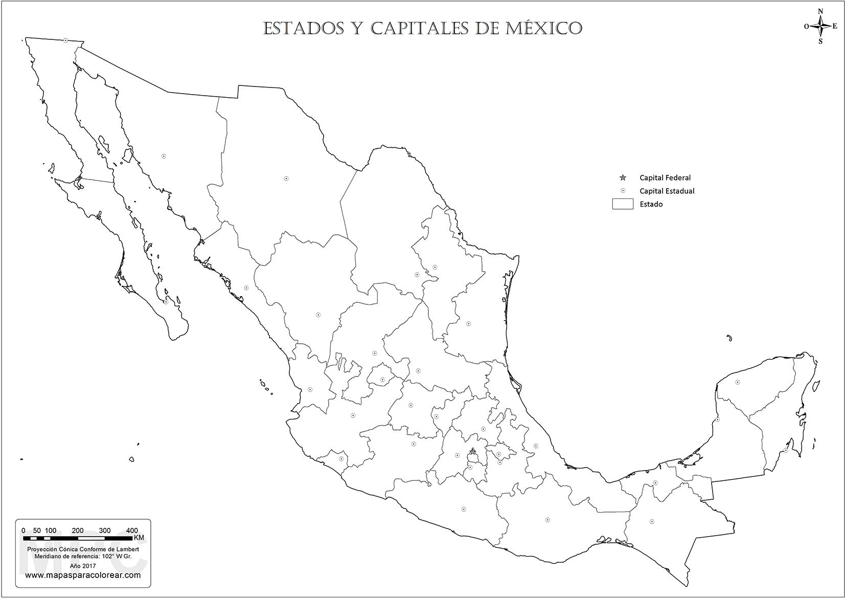 Mapas De Mexico Para Colorear