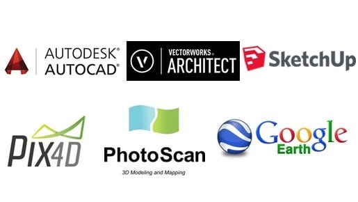 mapgage is compatible with a range of 3rd party photogrammetry, BIM, CAD and drone software incl. Pix4D, Autocad, Photoscan, Vectorworks, DJI and 3DR drones.
