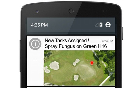 MapGage mobile app can be used to assign tasks to turf maintenance team members using drones and NDVI maps to manage golf course turf.
