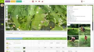 MapGage geospatial dashboard showing golf course maintenance application to capture issues on a golf course using both drone maps and mobile collected images from the ground.