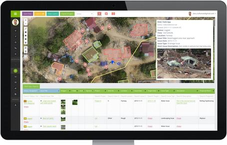 MapGage post disaster map and geospatial dashboard combines both ground data from the field taken by disaster relief teams as well as drone and satellite maps.