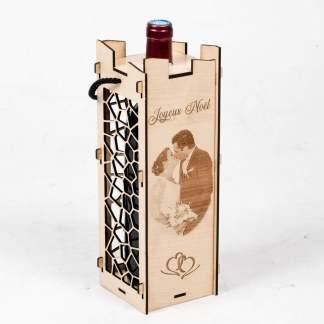 Boite à vin personnalisé gravure sur bois