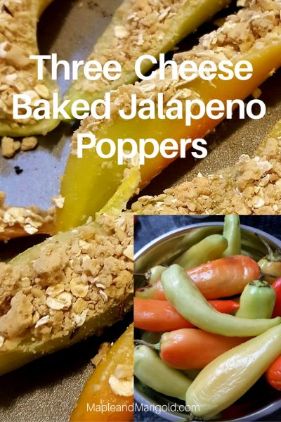 Three cheese Baked Jalapeno Poppers | Vegetarian Appetizers | Entertaining | Snacks and Appetizers | Spicy Food \ MapleandMarigold.com